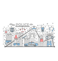 thin line art police poster banner template vector image