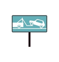 Tow away no parking sign icon flat style vector image