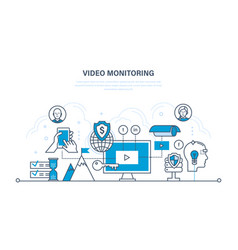 tracking video monitoring control management vector image