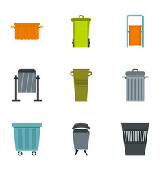 Trash can icon set flat style vector
