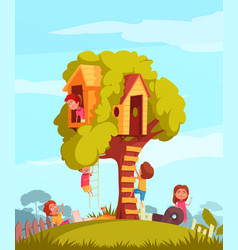 Tree house with children background vector