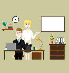 two business people in an office vector image