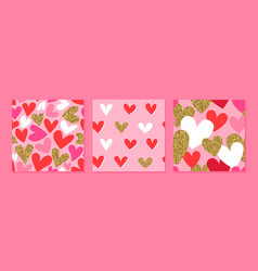 valentine day pink gold glitter heart pattern set vector image