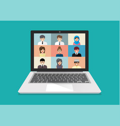 video conference on laptop vector image