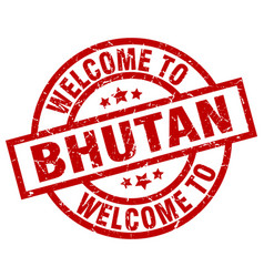 welcome to bhutan red stamp vector image