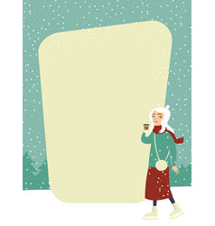 winter ice rink menu design vector image