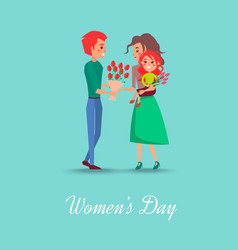 Womens day postcard with happy family vector