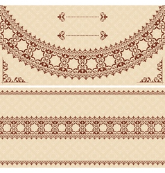 beige card with dark brown ornament vector image