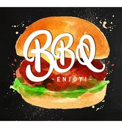 Burger BBQ chalk vector image