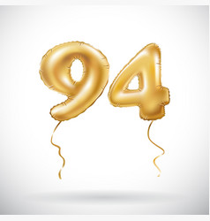 golden number 94 ninety four metallic balloon vector image