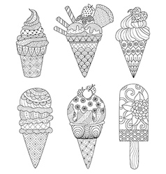ice cream coloring book vector image
