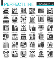 real estate black mini concept icons and vector image vector image
