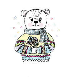 doodle bear in sweater vector image vector image