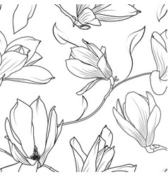 magnolia sakura flowers branch seamless pattern vector image vector image