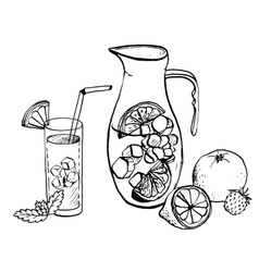 pitcher of lemonade and drink in a glass vector image vector image