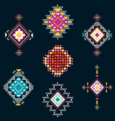 set of decorative ethnic american vector image