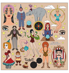 vintage circus collection vector image
