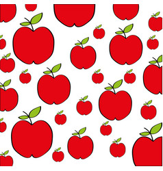 Apples pattern fresh fruit drawing icon vector
