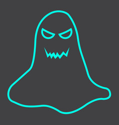 Ghost line icon halloween and scary horror sign vector