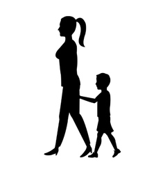 silhouette woman and boy son walking vector image