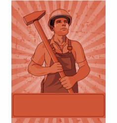 worker and a hammer vector image