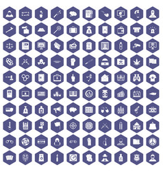 100 criminal offence icons hexagon purple vector image vector image
