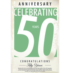 50 years Anniversary retro background vector image