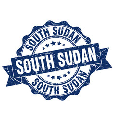 south sudan round ribbon seal vector image