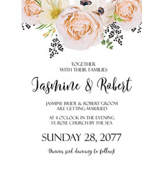 wedding floral invitation invite watercolor card vector image vector image