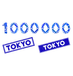 1000000 digits text mosaic and distress rectangle vector