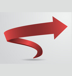 3D Red Spiral Arrow Pointer Sign Abstract vector image