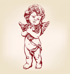Angel or cupid little baby holds a bouquet vector