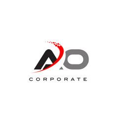 Ao modern letter logo design with swoosh vector