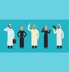 Arabic businesswomen and businessmen group arab vector