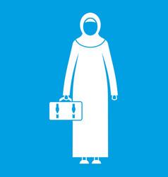 Arabic woman icon white vector