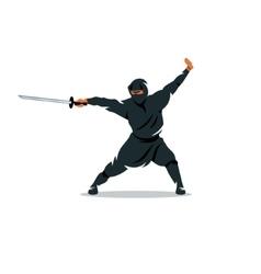 Asian ninja cartoon assassin vector