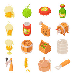 Beer bottle glass drink icons set isometric style vector