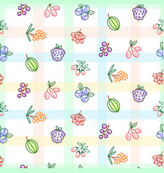 berries seamless pattern with striped plaid vector image