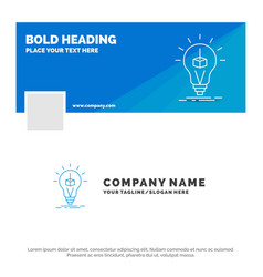 blue business logo template for 3d cube idea bulb vector image
