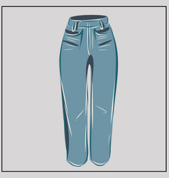 blue jeans classic denim oversize fashion vector image