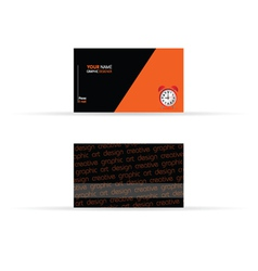 business card black and orange color vector image