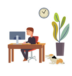 businessmen work at desk using a pc while the vector image