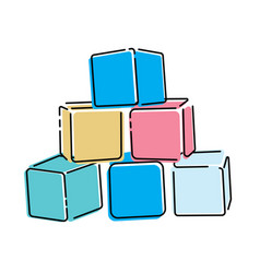 cartoon pyramid colored cubes toy cubes for vector image