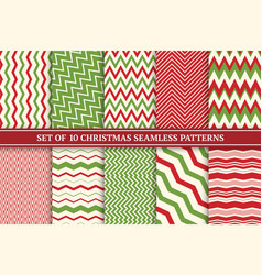 christmas seamless colorful zigzag patterns vector image