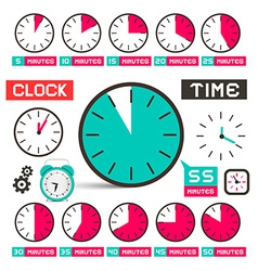 Clock - Time Icons Set Isolated on White vector image