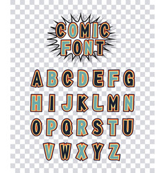comic font alphabet pop art vector image