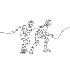 continuous one line couple rollerblading sport vector image