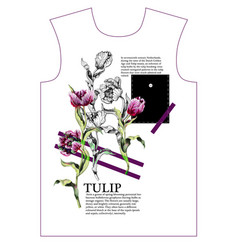 Design t-shirt with tulips flowers vector