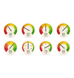 dial speedometers barometers logo set round vector image