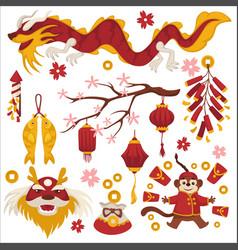 Dragon and sakura chinese new year symbols vector